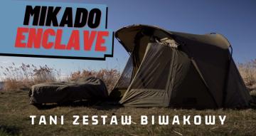 Tani zestaw biwakowy dla karpiarza –  Mikado Enclave /  namiot, łóżko, śpiwór, narzuta